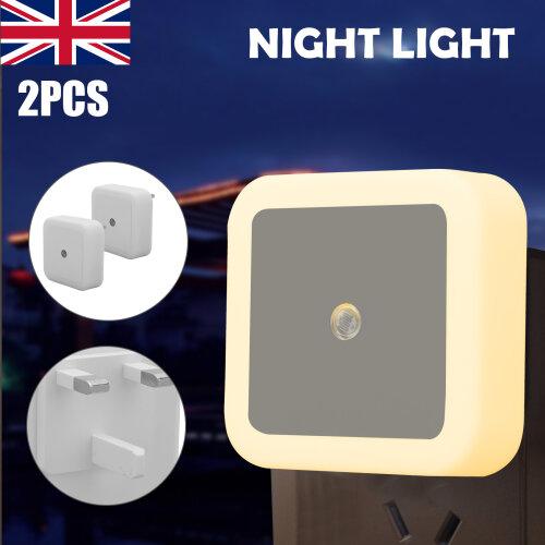 2x Automatic LED Child Night Light Plug in Low Energy Saving Dusk Dawn
