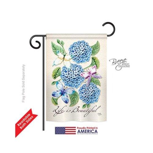 Breeze Decor 54081 Life is Beautiful Hydrangeas 2-Sided Impression Garden Flag - 13 x 18.5 in.