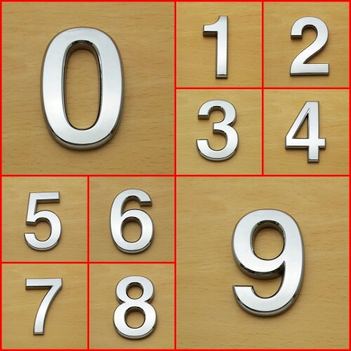 Self Adhesive Chrome Numbers Door Cars Curved 7cm