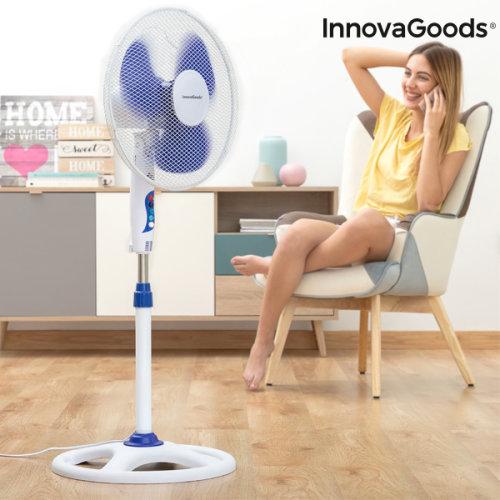 InnovaGoods Ø 40 cm 50W White Blue Pedestal Fan
