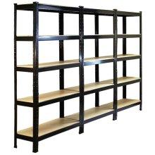 3 x Black Racking Storage Shelving 75cm Heavy Duty Garage 5 Tier Black & Blue Steel Shelf Unit 75cm x 30cm x 150cm