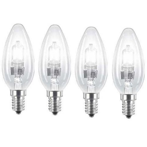 4 x Energy Saving Halogen Candles 42W (=55W-60W) SES E14 Eco Classic Light Bulbs, Small Edison Screw Cap, Dimmable Lamps, 630 Lumen, Mains 240V