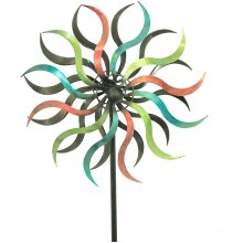 Multicoloured Spinning Spiral Metal Garden Windmill Wind Ornament Decoration
