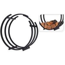 Idooka Rectangular or Circular Log Storage Firewood Industrial Black Finish Stylish Metal Finish -Rack Shelf Holder - Ventilation for Wood