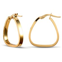 Jewelco London Ladies 9ct Yellow Gold Square Tube Triangle Hoop Earrings