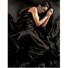 6pc Satin Bedding Black Double Duvet Cover Set (inc 1 duvet cover,1 fitted sheet,4 pillowcases)