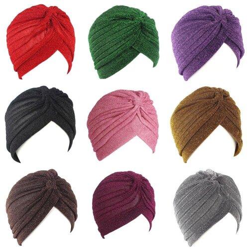 Women Shine Silver Gold Knot Twist Turban Headbands Cap & Warm Headwear Casual Streetwear