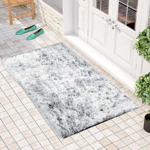 """(60 x 110 cm-(2'x3'7""""), Natty White) Non Slip Shaggy Thick Pile Glitter Door Floor Mat Indoor Outdoor"""