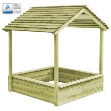 vidaXL Outdoor Playhouse with Sandpit 128x120x145cm Pinewood Kids Cabin