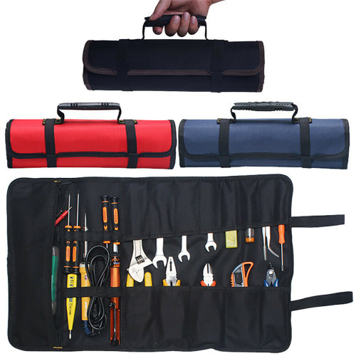 22 Pocket Spanner Wrench Tool Storage Bag Portable Roll Up Canvas Pouch Organizer