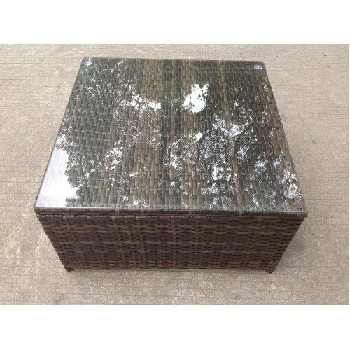 Rattan square coffee table Outdoor Garden  patio furniture Dark brown