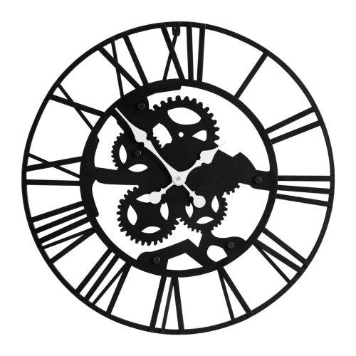 Industrial Style Skeleton Wall Clock, Iron - Black