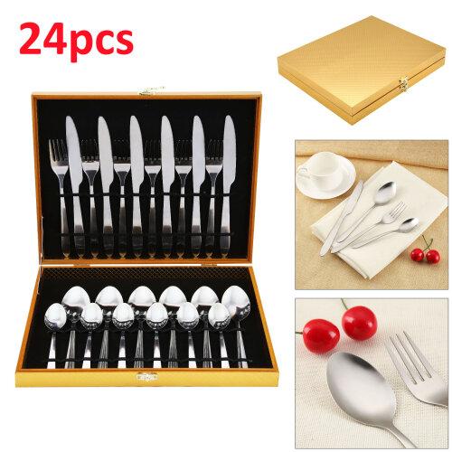 24pcs Luxury Stainless Steel Cutlery Set Knife Spoon Fork