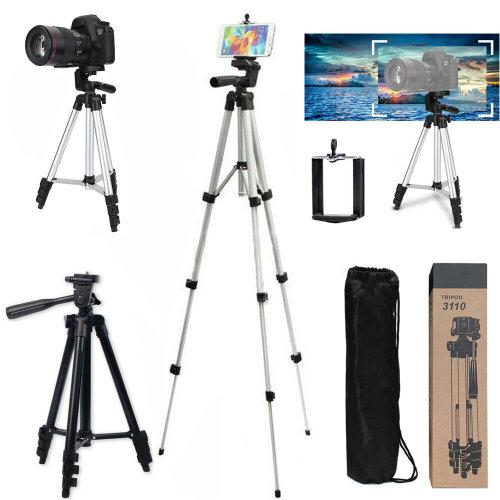 Universal Telescopic Camera Tripod Mount Holder for iPhone Samsung + Bag Black - Black
