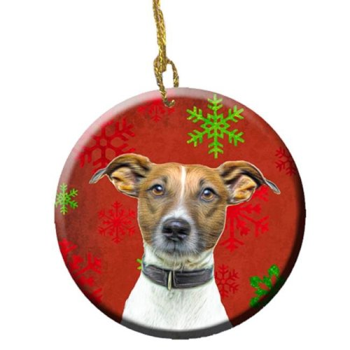 Red Snowflakes Holiday Christmas Jack Russell Terrier Ceramic Ornament