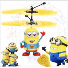 Minion Drone, RC Helicopter, Aircraft Mini Fly Flashing Hand Control, Quadcopter, LED Kids Toys