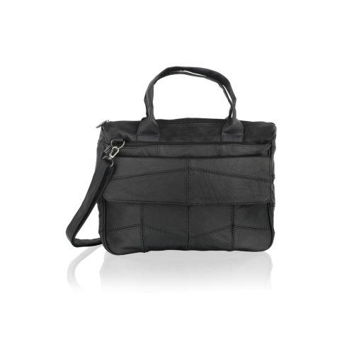 """Leather Black Tote Bag 15.0"""" Top Handles Front Flap Central Zip Adjustable Shoulder Strap"""