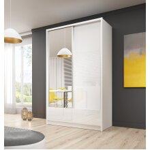 WARDROBE 130cm SLIDING 2 DOORS MIRROR / White Gloss / Drawers