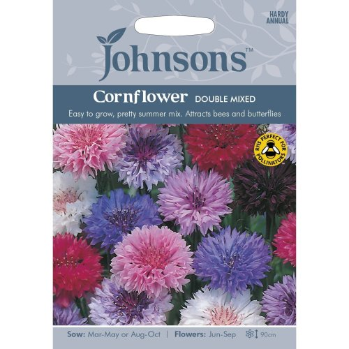 Johnsons Seeds - Pictorial Pack - Flower - Cornflower Double Mixed - 300 Seeds