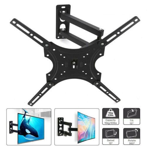 TV Wall Bracket Mount Tilt & Swivel for 17 32 40 42 46 50 52 55 Inch