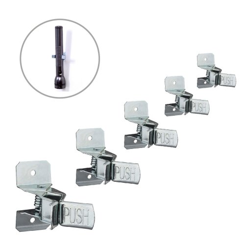 5 x Spring Loaded Wall Mounted Tool Clips, Storage for Garages, Sheds & Work Tools