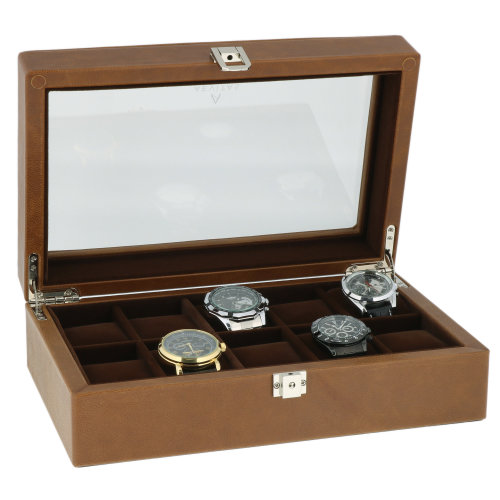 Cognac Brown Genuine Leather 10 Watch Box by Aevitas
