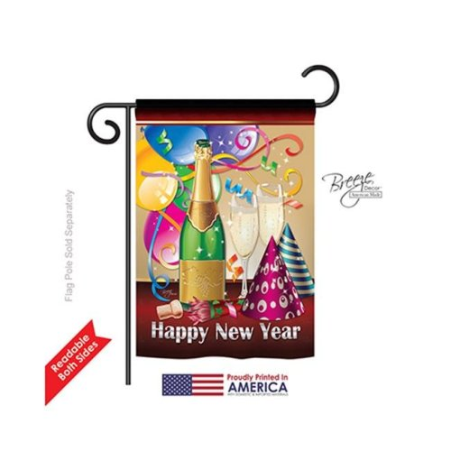 Breeze Decor 66008 New Year Happy New Year 2-Sided Impression Garden Flag - 13 x 18.5 in.