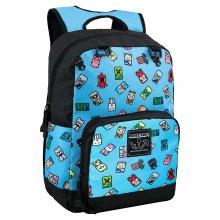 "Backpack - Minecraft - Bobble Mobs 17"" Blue New j9523"