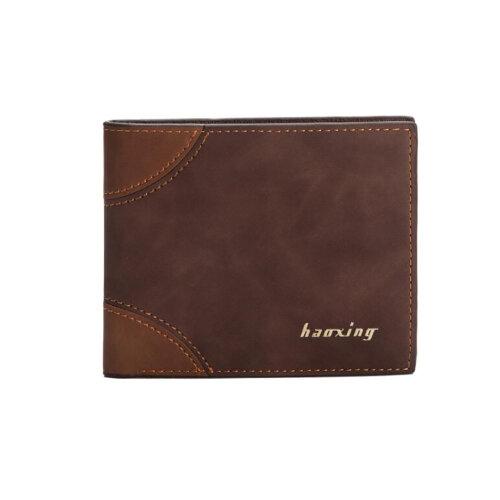 Men's PU Leather Bifold Wallet-DarkBrown