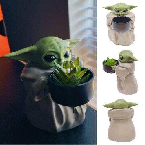 Baby Yoda Planter Pot Figurine Creative Ornament Flower Pot & Hole Birthday Gift