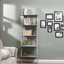 5 Tier Ladder Shelving Display Stand Book Shelf Wall Rack Storage