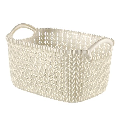 Curver Knit Rectangular Storage Basket, Oasis White, 3 Litre
