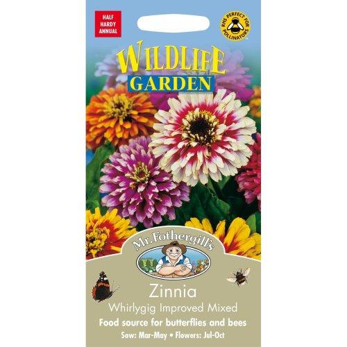 Mr Fothergills - Pictorial Packet - Flower - Zinnia Whirlygig Mixed - 75 Seeds