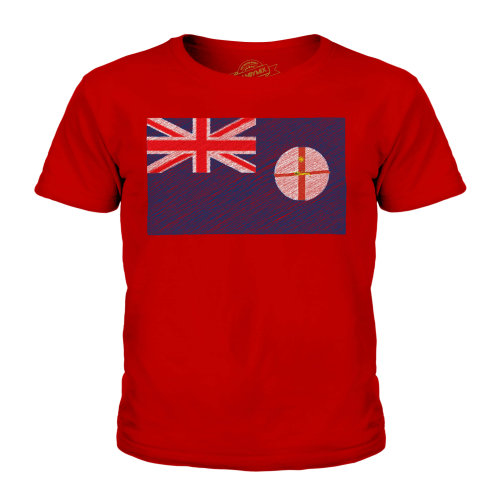 (Red, 9-10 Years) Candymix - New South Wales Scribble Flag - Unisex Kid's T-Shirt