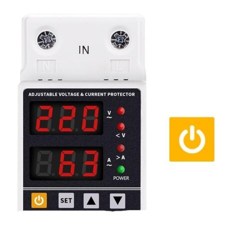 (63A) Dual Display 40a 63a 230v Din Rail Adjustable Digital Over Under Voltage Relay Surge Protector Limit Current Protection
