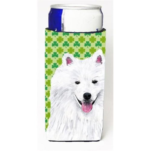 American Eskimo St. Patricks Day Shamrock Portrait Michelob Ultra bottle sleeves For Slim Cans - 12 oz.