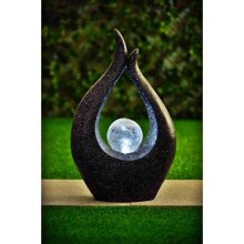 Solar-powered Garden Crackle Ball Sculpture with Solar-Powered LED Light For Domestic Use Only - Black