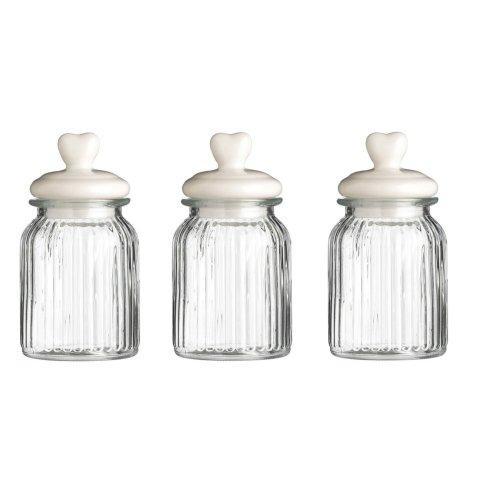 Set Of 3 Ribbed Glass Storage Jar Heart Lid, 1000 ml