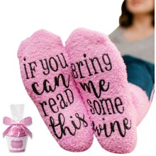 """nuosen Funny Socks for Women If You Can Read This Bring Me Wine"""" Wine Socks with Cupcake Gift Packaging"""