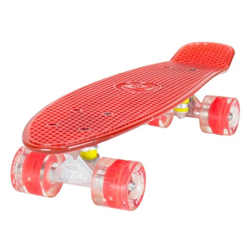 "Land Surfer Cruiser Skateboard 22"" CLEAR RED BOARD LED RED WHEELS"