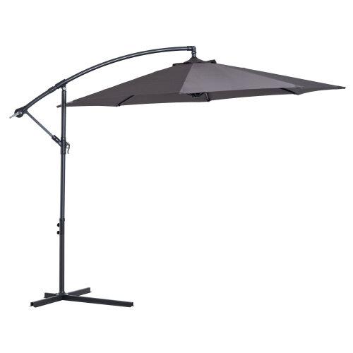 Outsunny 3M Cantilever Garden Umbrella | Grey Outdoor Parasol