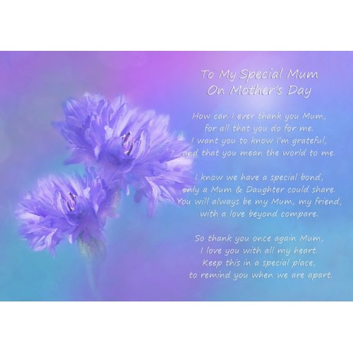 "Mother's Day Poem Verse Landscape Blank Greeting Card (Mum, From Daughter, Purple Background) 8""x5.5"""
