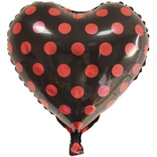 Ballooba™ 4 Pack - Love Heart Foil 18 Inch Balloons Polka Dots (Black)