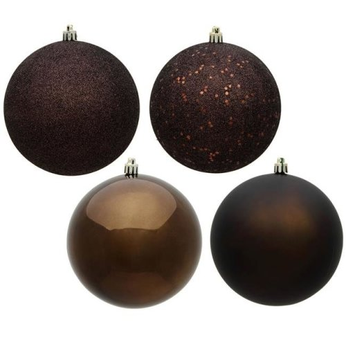 Vickerman N590675 2.4 in. Chocolate 4 Finish Assorted Color Christmas Ornament Ball - 24 per Box