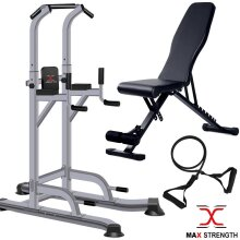 Pull Up Power Tower Station Abs Exercise Bench Crunch Chin Ups Tower Workout Set