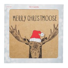 Whsmith Moose In A Red Hat 10 Christmas Cards In Single Design (Pack Of 10)