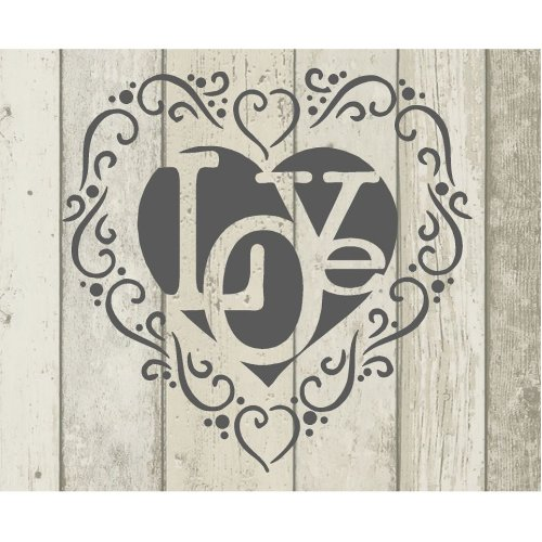 Floral Love Heart Vintage Shabby Chic Mylar Painting Wall Art Furniture Stencil