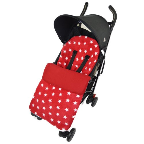 Fleece Footmuff / Cosy Toes Compatible with Buggy Pushchair Red Star