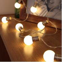 Festive Lights Light Bulb Fairy Lights - Battery Operated - Frosted Bulb - 10 Warm White LEDs - 1.5m