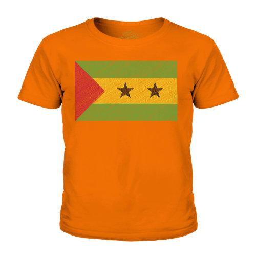 (Orange, 3-4 Years) Candymix - Sao Tome E Principe Scribble Flag - Unisex Kid's T-Shirt